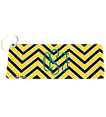 Yellow and Black Chevron Metal Keychain #KC-5035