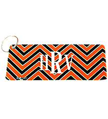 Orange and Black Chevron Metal Keychain #KC-5036