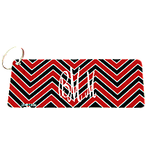 Red and Black Chevron Metal Keychain #KC-5037
