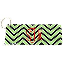 Lime Green and Black Chevron Metal Keychain #KC-5042