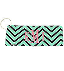 Mint and Black Chevron Metal Keychain #KC-5045