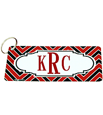 Red and Black Chevron Metal Keychain with Center Scalloped Oval #KC-5068