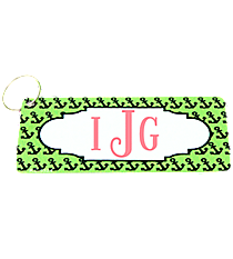 Lime with Black Anchors Metal Keychain with Center Scalloped Oval #KC-5324