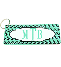 Mint with Black Anchors Metal Keychain with Center Scalloped Oval #KC-5327