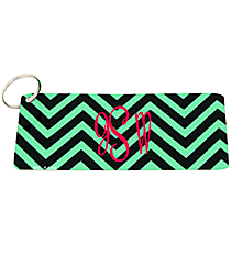 Dark Mint and Black Chevron Metal Keychain #KC-5424
