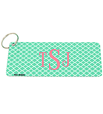 Dark Mint and White Quatrefoil Metal Keychain #KC-5425