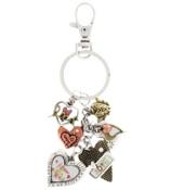 Love & Heart Tri-Tone Dangling Charm Keychain #AK0200-B3T