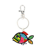 Multi-Color Patchwork Fish Keychain #AK0217-SMX