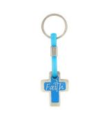 Blue Cross Faith Pebble Keyring #KPB003