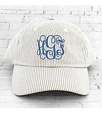 Khaki and White Seersucker Cap #F0303