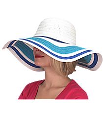 Seaside Wide Brim Floppy Sun Hat #KI-40089-RO/WH/TQ