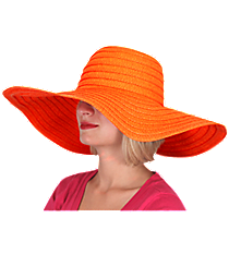 Orange Wide Brim Floppy Sun Hat #KI-40090-ORANGE