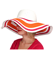 Sunset Wide Brim Floppy Sun Hat #KI-40900-OR/WH/PK