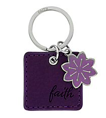 Purple LuxLeather Matthew 19:26 Faith Keyring #KLL002