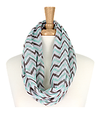 Aqua and Grey Chevron Infinity Scarf #KSF2148G-AQUA