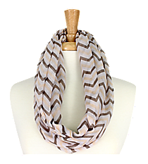 Khaki and Grey Chevron Infinity Scarf #KSF2148G-KHAKI