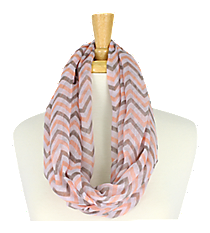 Pink and Grey Chevron Infinity Scarf #KSF2148G-PINK