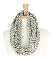 Grey Chevron Infinity Scarf #KSF2148P-GREY