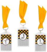 "Gameday Black & Gold 3"" Acrylic Keytag #979 Choose Your Initial"