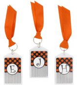 "Gameday Black & Orange 3"" Acrylic Keytag #979 Choose Your Initial"