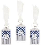 "Gameday Blue & White 3"" Acrylic Keytag #979 Choose Your Initial"