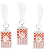 "Gameday Burnt Orange & White 3"" Acrylic Keytag #979 Choose Your Initial"