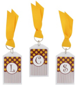 "Gameday Burgundy & Gold 3"" Acrylic Keytag #979 Choose Your Initial"