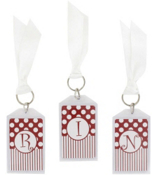 "Gameday Crimson & White 3"" Acrylic Keytag #979 Choose Your Initial"