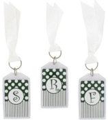 "Gameday Dark Green & White 3"" Acrylic Keytag #979 Choose Your Initial"