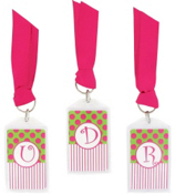 "Green & Hot Pink 3"" Acrylic Keytag #979 Choose Your Initial"