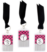 "Hot Pink & Black 3"" Acrylic Keytag #979 Choose Your Initial"