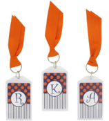 "Gameday Navy & Orange 3"" Acrylic Keytag #979 Choose Your Initial"