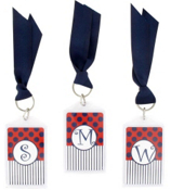 """Gameday Navy & Red 3"""" Acrylic Keytag #979 Choose Your Initial"""