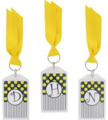 "Gameday Navy & Yellow 3"" Acrylic Keytag #979 Choose Your Initial"