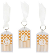 "Gameday Orange & White 3"" Acrylic Keytag #979 Choose Your Initial"