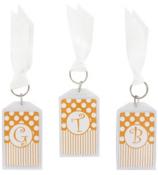 "Gameday Orange & White 3"" Acrylic Keytag #979 Choose Your Initial"
