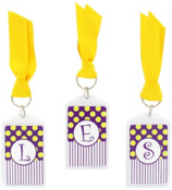 "Gameday Purple & Yellow 3"" Acrylic Keytag #979 Choose Your Initial"
