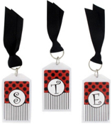 """Gameday Red & Black 3"""" Acrylic Keytag #979 Choose Your Initial"""