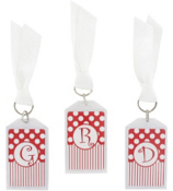 "Gameday Red & White 3"" Acrylic Keytag #979 Choose Your Initial"
