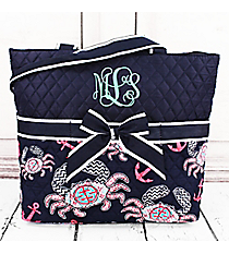Preppy Crab Quilted Diaper Bag with Navy Trim #KUL2121-NAVY