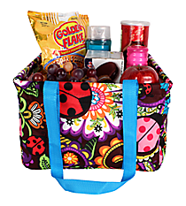 Ladybug Garden Collapsible Square Utility Tote #LAB402-TURQ