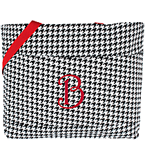 Houndstooth with Red Trim Large Tote Bag #HE564-RED