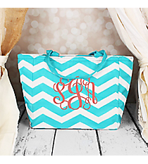 Light Blue and White Chevron Insulated Lunch Bag #LB103-165-LT/W