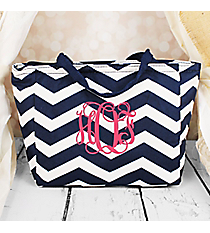 Navy and White Chevron Insulated Lunch Bag #LB103-165-N/W