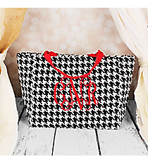 Houndstooth with Red Trim Insulated Lunch Bag #LB103-606-R