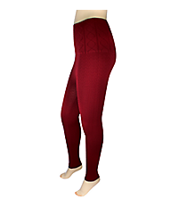 Burgundy Jacquard High Waisted Fleece Ankle Leggings #SP-13JXJ15-FLEECE
