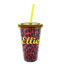 Pink Leopard 17 oz. Double Wall Tumbler with Straw #2AC0093