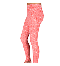 Coral and White Mini Chevron Leggings #LGP-512