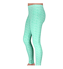 Mint Green and White Mini Chevron Leggings #LGP-513