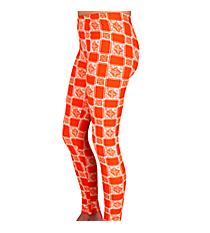 Orange Squares Print Leggings #LGP-515